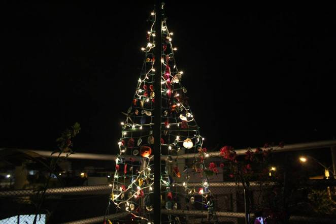 the tree is a metal structure with netting and has painted shells all over its beautiful and looks even more beautiful lit up on my 3rd floor terrace at
